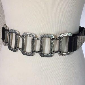 Chicos black leather & silver squares belt S/M